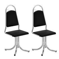 Conjunto com 2 Cadeiras Giratórias Sasha Vinil Búfalo Preto - Brigatto