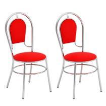 Conjunto com 2 Cadeiras Shaka Vinil Búfalo Vermelho - Brigatto