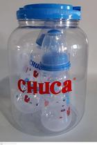 Conjunto com 3 Mamadeiras 80ml 150ml 250ml no Pote Azul Chuca -