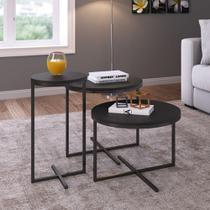 Conjunto com 3 mesas Laterais Estilo Industrial Volpi 24820 Artesano -