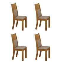 Conjunto com 4 Cadeiras Havaí Imbuia e Cinza - Leifer