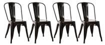 Conjunto Com 4 Cadeiras Industriais Fixas Decorativas Vintage - Aço - Anima -