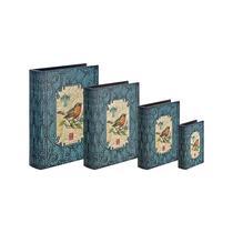 Conjunto com 4 Caixas Livro Azul Arabesco com Pássaro - Goods br