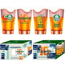 Conjunto Com 4 Copos Caldereta Para Cerveja Palmeiras Decacampeão 350ml Feito em vidro - Globimport -