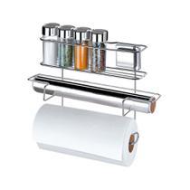 Conjunto com 4 porta condimentos e 2 rolos com ventosas aço cromado Arthi -