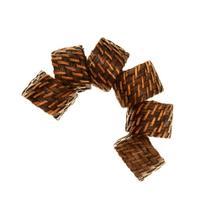 Conjunto com 6 Anéis Para Guardanapo em Rattan e Bambu Rústico Marrom Grande 4 X 4 CM - Mundiart
