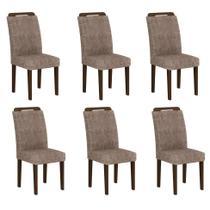 Conjunto com 6 Cadeiras Athenas Suede Amassado Castor e Chocolate - Rufato