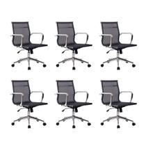 Conjunto com 6 Cadeiras de Escritório Diretor Giratórias Eames Star Preto - Mobly