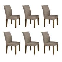 Conjunto com 6 Cadeiras Olímpia Ipê e Cinza - Leifer