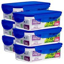Conjunto com 6 potes herméticos de 500ML (tampa azul) - Click Fresh