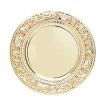 Conjunto com 6 Sousplats de Plástico Espelhado Castle Dourado 33Cm - Lyor