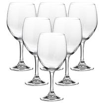 Conjunto Com 6 Taças de Vinho de Vidro Roma Goblet 420ml - Crisal -