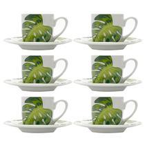 Conjunto com 6 Xícaras para Café Com Pires de Porcelana 90ml Folhas-Bon Gourmet -