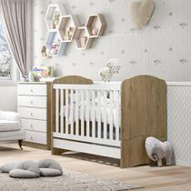 Conjunto com Berço Mini-cama e Cômoda 5 Gavetas Bala de Menta Henn - Rústico/Branco -
