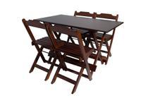 Conjunto com Jogo de Mesa 120x70 Com 4 Cadeiras Dobráveis Imbuia - Reisol Móveis - Rei Sol Móveis