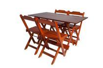 Conjunto com Jogo de Mesa 120x70 Com 4 Cadeiras Dobráveis Mel - Reisol Móveis - Rei Sol Móveis