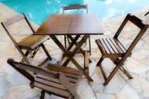 Conjunto com Jogo de Mesa 70x70 Com 4 Cadeiras Dobráveis - Imbúia - Rei Sol Móveis
