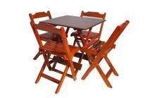 Conjunto com Jogo de Mesa 70x70 Com 4 Cadeiras Dobráveis  Mel - Reisol Móveis - Rei Sol Móveis