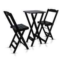 Conjunto Com Jogo De Mesa Dobrável Bistrô Preto Com 2 Cadeiras - Tarimatã -