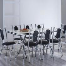 Conjunto com Mesa ME 304 e 8 Cadeiras CA 980 Milano Móveis Brastubo Branco/Preto -
