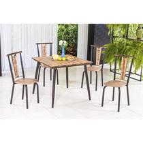 Conjunto com Mesa Quadrada e 4 Cadeiras Calcário Modecor Café/Demolição -