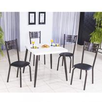Conjunto com Mesa Quadrada e 4 Cadeiras Íris Modecor Preto/Café/Branco -