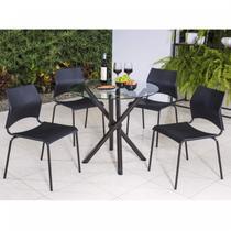 Conjunto com Mesa Redonda e 4 Cadeiras Anis Modecor Preto/Café -
