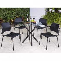 Conjunto com Mesa Redonda e 4 Cadeiras Anis Modecor -
