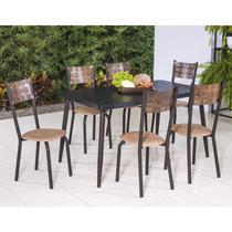 Conjunto com Mesa Retangular e 6 Cadeiras Íris Modecor Preto/Café -