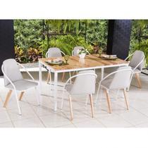 Conjunto com Mesa Retangular e 6 Cadeiras Tulipa Modecor Branco/Natural -