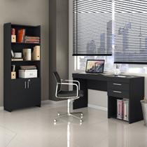 Conjunto Completo de Escritório Office Escrivaninha Black e Armário Multi-uso - Notável