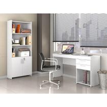 Conjunto Completo de Escritório Office Escrivaninha Branco e Armário Multi-uso - Notável