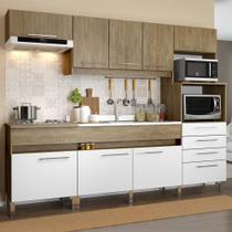 Conjunto Cozinha com 8 Portas 4 Gavetas 2 Prateleiras Open sem Tampo de Pia Wood / Branco - Decibal Móveis -