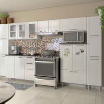 Conjunto Cozinha Completa com 2 Paneleiros, Armário Triplo, 2 Armário Aéreo e Balcão Multipla Bertolini Branco -