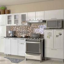 Conjunto Cozinha Completa com Paneleiro, Armário Triplo, 2 Armário Aéreo e Balcão Multipla Bertolini Branco -