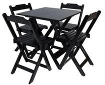 Conjunto de 1 mesa bar dobrável 70x70 com Tampo em MDF com 4 cadeiras dobrável de madeira  - Madere mesas -