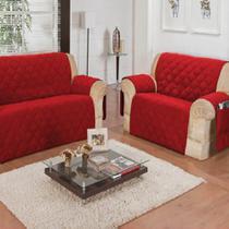 Conjunto de 2 Protetores de Sofá com 2 e 3 lugares com porta controle Vermelho - Casa Dona