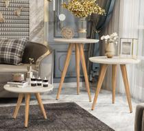 Conjunto de 3 Mesas para Sala Redonda com Pés Palito Classic Off White - Compre Aqui