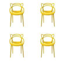 Conjunto de 4 Cadeiras Rivatti Allegra, Amarela, 36501889-4 -