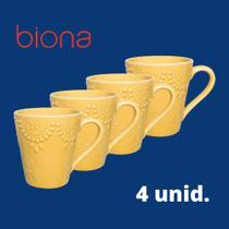Conjunto de 4 canecas dalas 280ml biona- amarelo -