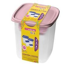 Conjunto De 4 Peças Plástico Rosa- SANREMO -