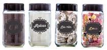 Conjunto de 4 Potes 800ml (Café/Açúcar/Biscoitos/Doces) Preto - Black - Vetrolar
