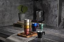 Conjunto de 4 Xicaras para Café Pasabahçe em Vidro - 70 ml - Linha Casablanca Mettalic - Colorido - Pasabahce