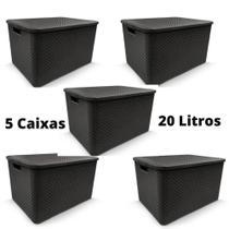 Conjunto de 5 peças Caixas Organizadoras Rattan com Tampa 20 Litros - ArqPlast