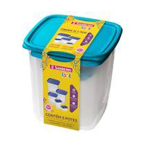 Conjunto de 5 Potes-7 litros+4,5 litros+1,7 litros+800 ml+200ml-Plástico-Cor Azul-SANREMO -