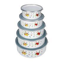 Conjunto de 5 Potes Esmaltado com Tampa Plastica - YAZI -