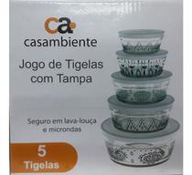 Conjunto De 5 Potes Tigelas Vasilhas Vidro Com Tampa - Casambiente