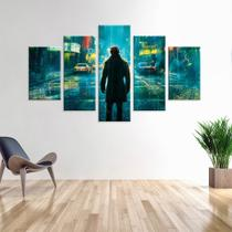 Conjunto de 5 Telas Decorativas em Canvas Noite Chuvosa - Love decor