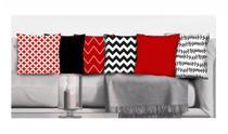 Conjunto de 6 almofadas  Preto e  Vermelho 42x42 com enchimento Atelier Valverde -
