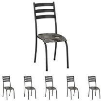 Conjunto de 6 Cadeiras 591/15 Madmelos Craquelado Dark / Folha -